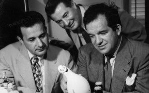 Al Capp 1950 Elliot, Bence and Al with merchandise